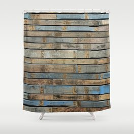 distressed wood wall - Blue and brown planks Shower Curtain