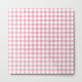 Nappy Faux Velvet Gingham in Pink on White Metal Print
