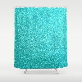 Aqua Blue Glitter Shower Curtain