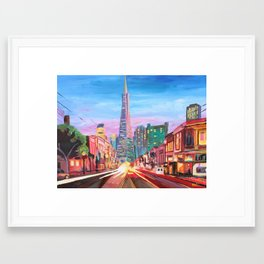 San Francisco - Columbus St. with Cafe Vesuvio Framed Art Print