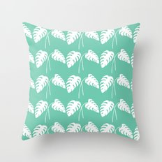 White Monstera Leaf Watercolor on Teal Throw Pillow