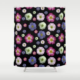 Moody Primrose Flower Heads on a Black Background Shower Curtain