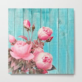 Pink Roses On Turquoise Blue Wood Metal Print