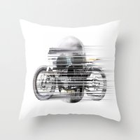cafe racer Throw Pillows featuring SKULL AND CAFE RACER by Joedunnz