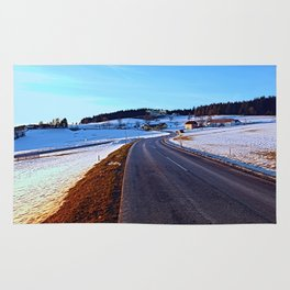 Country road through winter wonderland III | landscape photography Rug