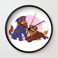 pit bull Wall Clocks featuring Pit Bull Shisa Guardians by AlliePets