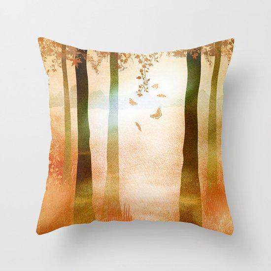 sunrise in autumn Throw Pillow