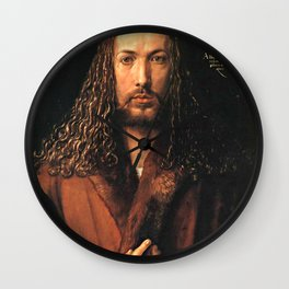 Self-Portrait in a Fur-Collared Robe Wall Clock