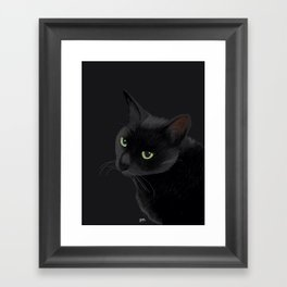 Black cat in the dark Framed Art Print