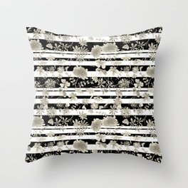 The floral pattern on striped background. Throw Pillow