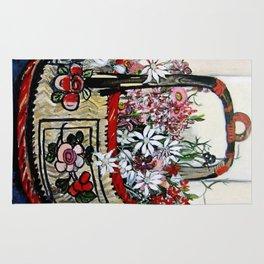"""Basket of Flannel Flowers"" by Margaret Preston Rug"