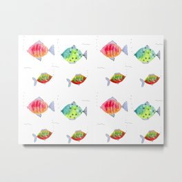 Whimsical fishes watercolor pattern Metal Print