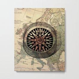 Nautical Compass, Nautical Map Art Print, Nautical Art Print, Ship Compass, Nautical Art, Nautical, Ocean, Sea, Sailing Art Print, Nautical Decor, Map Poster, Kids Room, Nursery, Playroom, Children's Art Print, Compass Metal Print