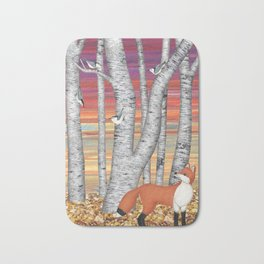nuthatches and fox in the birch forest Bath Mat