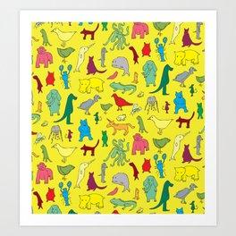 alphabet animals Art Print