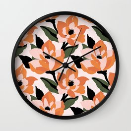 Bold orange poppy on a soft pink base Wall Clock