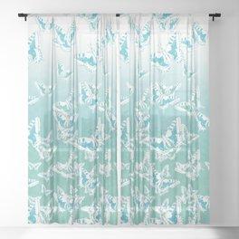 blue butterflies in the sky Sheer Curtain
