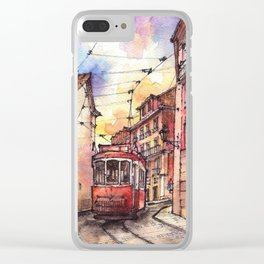 Lisbon ink & watercolor illustration Clear iPhone Case