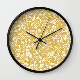 Spicy Mustard Pixels Wall Clock