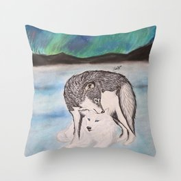 "Northern Lights & ""I Wolves You"" Nights Throw Pillow"