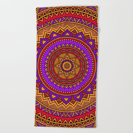 Hippie mandala 51 Beach Towel