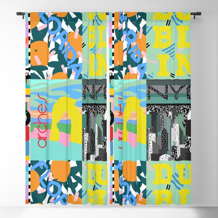 80's Postmodern Travel Postcards Blackout Curtain