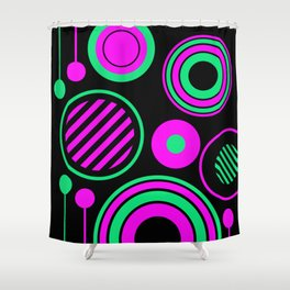 Retro Rings And Circles - Black, Purple And Green Shower Curtain
