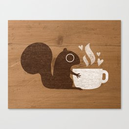 Squirrel Coffee Lover Canvas Print