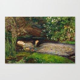 Ophelia Brick Wall Painting by Sir John Everett Millais Canvas Print