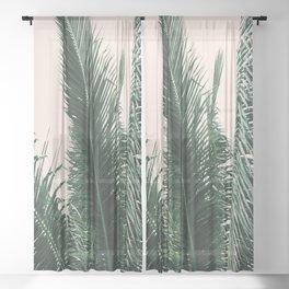 Maui Sunset Palm Leaves Tropicana Sheer Curtain