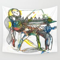 wings Wall Tapestries featuring Wings by Dawn Patel Art