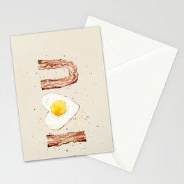 Bacon Love I Heart You Breakfast Food Stationery Cards