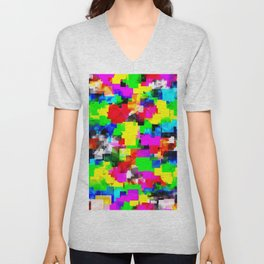 psychedelic geometric square abstract pattern in pink green yellow blue red Unisex V-Neck