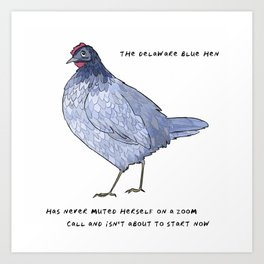 Blue Hen – State Bird of Delaware Art Print