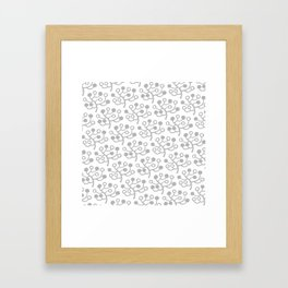 Mid Century Modern Berries Pattern Grey Framed Art Print