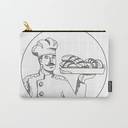 Baker Holding Bread on Plate Doodle Art Carry-All Pouch
