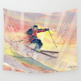 Colorful Skiing Art Wall Tapestry