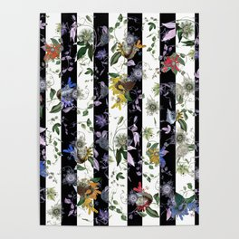 Vibrant Exotic Floral on Black and White Stripes Poster