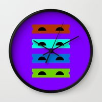 ninja turtles Wall Clocks featuring Teenage Minimal Ninja Turtles by The Good Stuff Factory