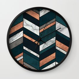 Abstract Chevron Pattern - Copper, Marble, and Blue Concrete Wall Clock