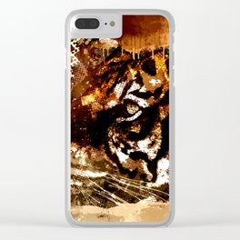 Bengal Tiger in  Abstract Paint Digital art Clear iPhone Case