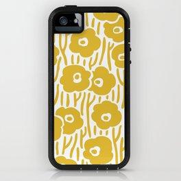 Mid Century Modern Wild Flowers Pattern Mustard Yellow iPhone Case