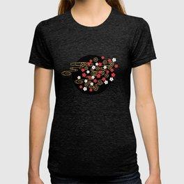 Black Sakura Kimono Pattern T-shirt
