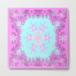 Decorative Pink Winter Snowflakes Abstract Art Metal Print