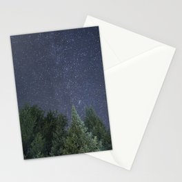 Pine trees with the northern michigan night sky Stationery Cards
