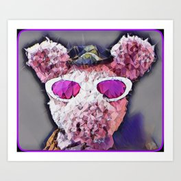 """Pinky the Pig Polygon Portrait"" Art Print"