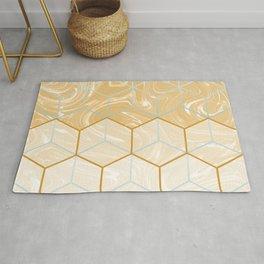 Geometric Effect Caramel Marble Design Rug