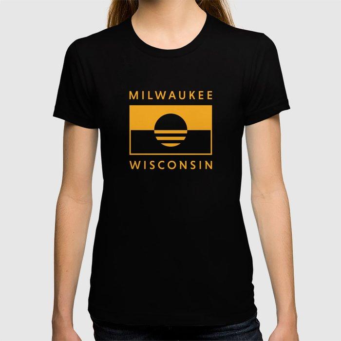 Milwaukee Wisconsin - Gold - People's Flag of Milwaukee T-shirt