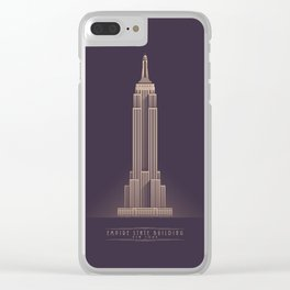 Empire State Building New York Art Deco - Vintage Dark Clear iPhone Case