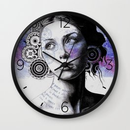 Ayil | vintage lady portrait | mandala doodles sketch) Wall Clock